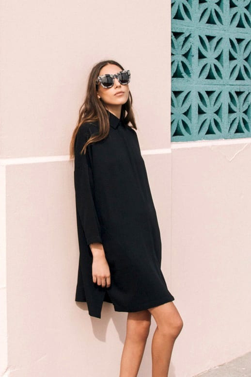 Career-Girl-Daily-Easy-Style-Look-Oversized-Statement-Sunglasses-Illesteva-Tortoise-Hamilton-Black-Shirtdress-Long-Sombre-Hair-Pink-Wall-Via-The-Dreslyn