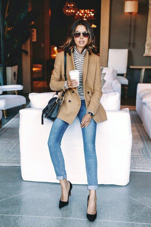 Career-Girl-Daily- Fall-Style-Aviator-Sunglasses-Camel-Blazer-Striped-Turtleneck-Light-Skinny-Jeans-Suede-Pumps-Via-Viva-Luxury
