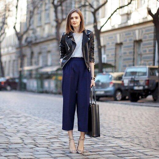 Le-Fashion-Blog-Winter-Officewear-Leather-Biker-Jacket-Dark-Blue-Culottes-Large-Leather-Satchel-Patterned-Strapy-Pumps-Via-Fashion-Agony