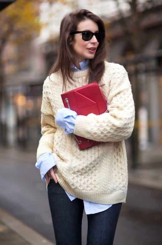 Winter-Style-Oversized-Beige-Fisherman-Knit-Blue-Button-Down-Shirt-Red-Fold-Over-Bag-Dark-Blue-Jeans-Via-A-Portable-Package